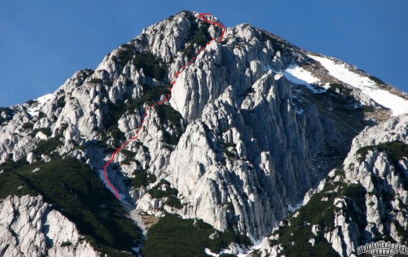Skriti žleb - Matajurski vrh, Jv stena